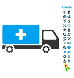 Service car flat icon with bonus vector