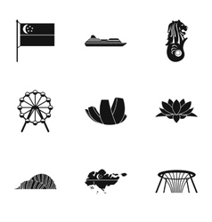 Tourism in Singapore icons set simple style vector image