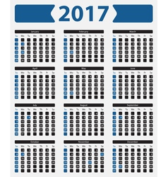 Usa calendar 2017 - with official holidays vector