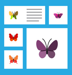 Flat moth set of monarch beauty fly violet wing vector