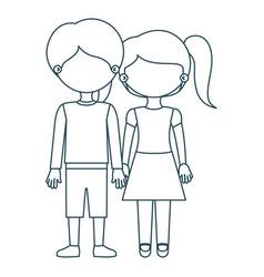 blue contour faceless couple children with taken vector image
