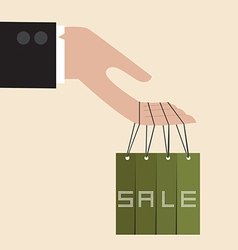 Businessman hand hang with discount tag vector
