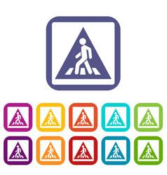 Pedestrian road sign icons set vector