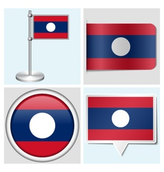 Laos flag - sticker button label flagstaff vector image
