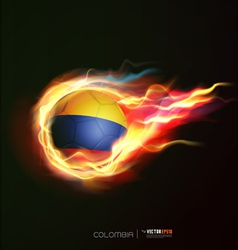 colombia flag with flying soccer ball on fire vector image