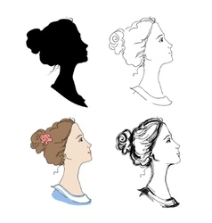 Woman head profiles vector