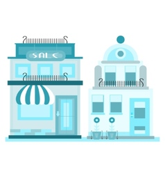 Two blue buildings vector