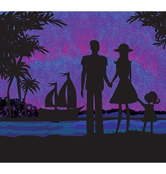 Family on tropical vacation vector