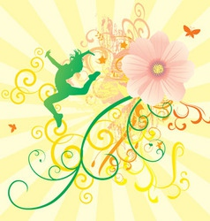 Color dance flowers girl vector