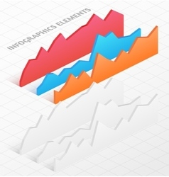 Set of white and colorful isometric graphs vector