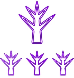Purple line plant logo design set vector