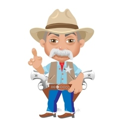 Wise sheriff cartoon character in wild west vector