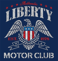 Liberty eagle motor club t-shirt graphic vector