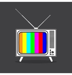Vintage retro tv in black and white vector
