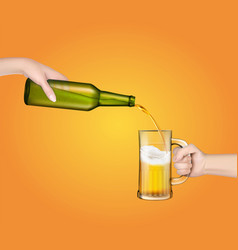 a cold barley beer pouring vector image
