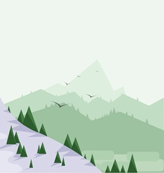 Abstract landscape with pine trees snow vector