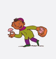 black child picking mushrooms vector image vector image