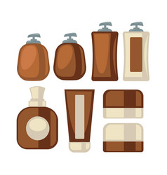 Brown-beige stylish bathroom beauty cosmetics vector