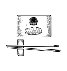 Chopsticks nigiri sushi with fish rolls on wood vector