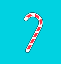 christmas peppermint candy cane with stripes flat vector image