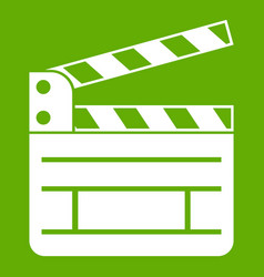 clapperboard icon green vector image vector image
