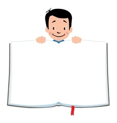Design template with funny boy and book vector image vector image