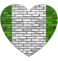 flag of nigeria on a brick wall in heart shape vector image vector image
