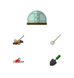 Flat icon farm set of hothouse hay fork trowel vector