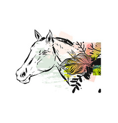 Hand drawn textured lined ink graphic horse vector