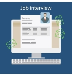 Job interview with resume on computer vector image vector image