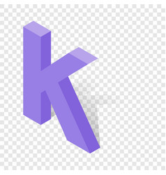 K letter in isometric 3d style with shadow vector