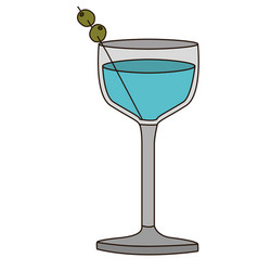 Light coloured silhouette of glass cocktail with vector