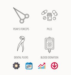 medical pills blood and dental pliers icons vector image