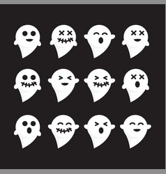pattern set emotions white n black bacground ghost vector image vector image