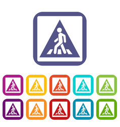 Pedestrian road sign icons set vector