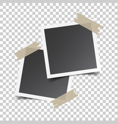 Photo frame with adhesive tape on isolated vector