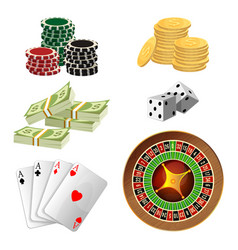 Poker chips golden coins with dollar money aces vector