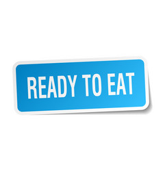 Ready to eat square sticker on white vector