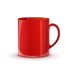 Realistic glossy red cup with shadow on white vector image vector image