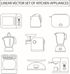 Set of linear kitchen appliances vector image vector image