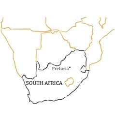 South africa hand-drawn sketch map vector
