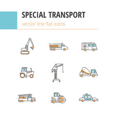 special transport flat linear icons with vector image