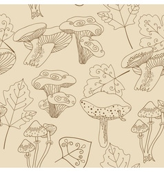Stock seamless pattern with mushrooms and leaves vector