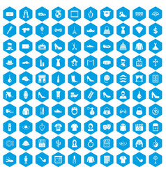 100 stylist icons set blue vector