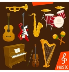 Wind and strings musical instruments vector