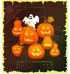 Vertical Halloween grunge banners with pumpkin vector image
