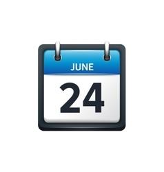 June 24 Calendar icon flat vector image