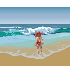 Little Girl playing at the beach vector image