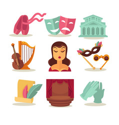 Set with theatre attributes vector