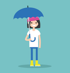 Young smiling girl with umbrella wearing yellow vector